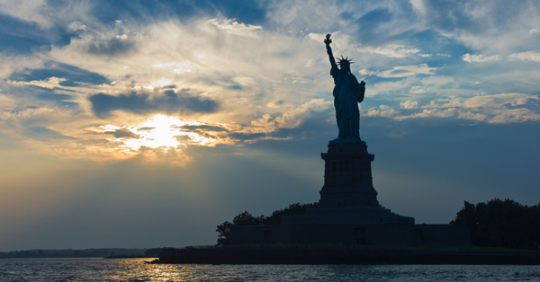 Statue of liberty at dusk. Image shot 2010. Exact date unknown.